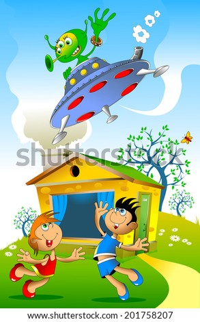 girl and boy meet the spacecraft with aliens - stock vector