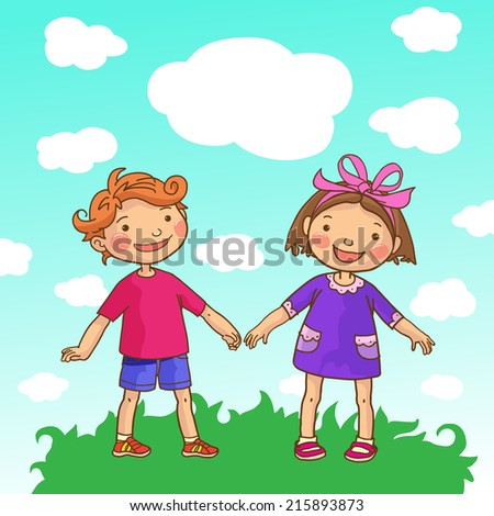 Girl and Boy on the sky background. Children Sport isolated objects. Great illustration for a school books and more. VECTOR. Editorial. Education. Advertising. Board. - stock vector