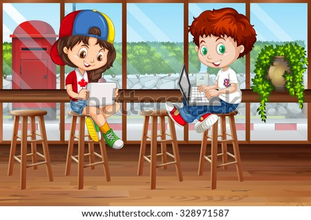 Girl and boy using computer in the pub illustration - stock vector