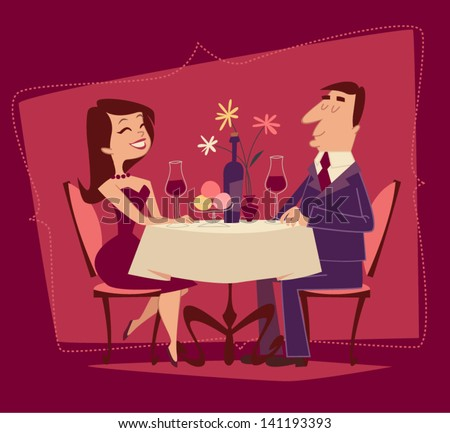 Girl and guy. Romantic date. Retro style vector illustration - stock vector