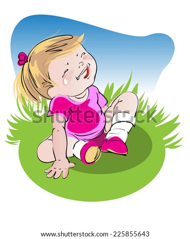 girl - baby in a pink dress sits on green glade - stock vector