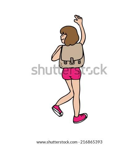 Girl backpacker hiking cartoon character - stock vector