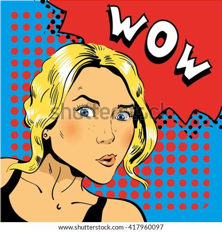 Girl blond is surprised. Vector illustration in pop art retro comic style - stock vector