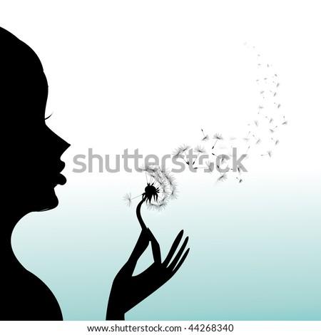 Girl blow dandelion - stock vector