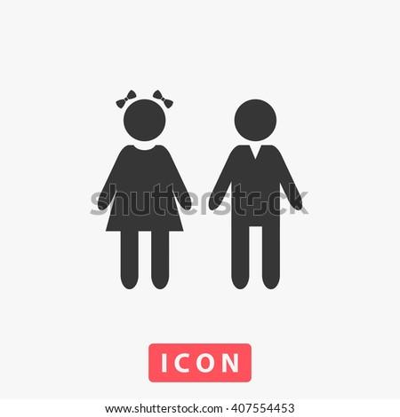 girl boy Icon.  - stock vector