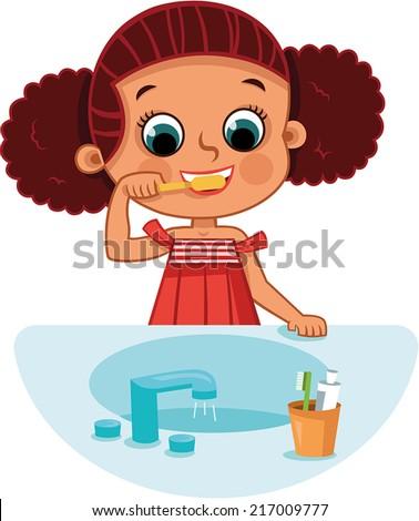 Girl brushing teeth  - stock vector