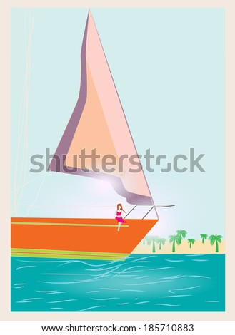 girl by the ship - stock vector