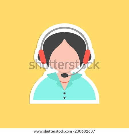 girl call center avatar sticker. concept of 24 hours client services, hotel reception, on-line shopping and communication. isolated on yellow background. flat style trendy modern vector illustration - stock vector