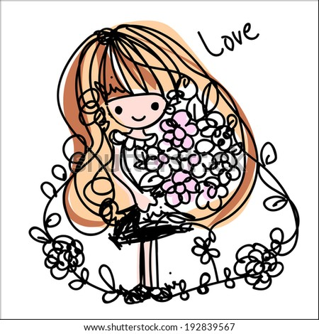girl cartoon vector file with flowers - stock vector