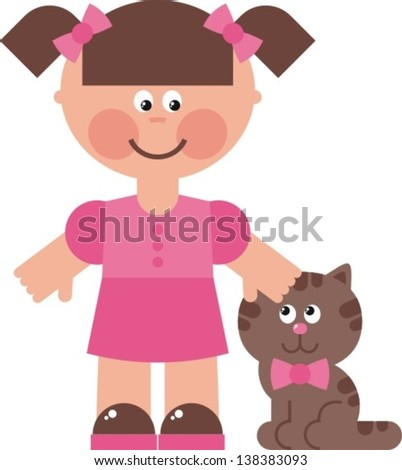girl cat aÂ?Â? vector illustration, little girl walking with her cat - stock vector