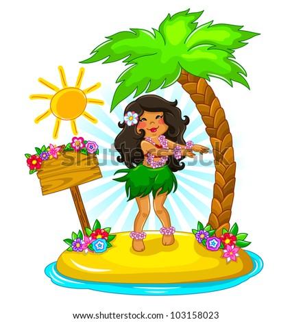 girl dancing hula on a tropical island - stock vector