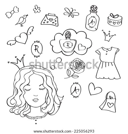 Girl dreams. Girl with speech bubble. Design templates. Children's drawing style. On Valentine's Day, holidays, birthday. Sketch. Vector illustration. - stock vector