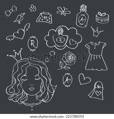 Girl dreams. Girl with speech bubble. Drawn in chalk on a blackboard. Sketch. Vector illustration. - stock vector