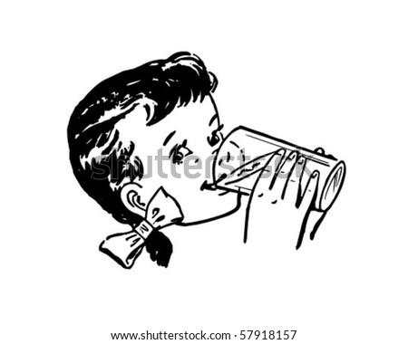 Girl Drinking Milk - Retro Clip Art - stock vector
