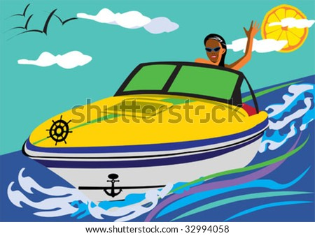 girl driving a motor-boat smiling and swaying to as. - stock vector