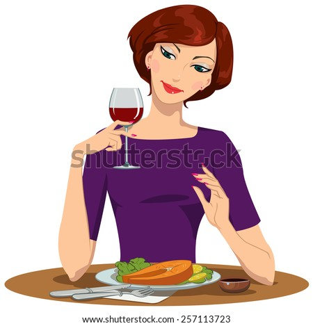 girl eating salmon Steak and drinking red wine - stock vector