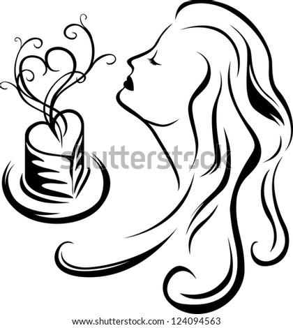 Girl enjoying aroma of coffee, third variant, black stencil - stock vector