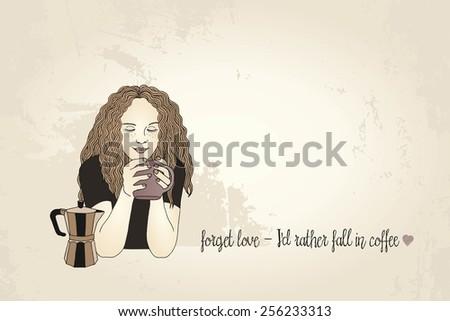 Girl enjoying her coffee - stock vector