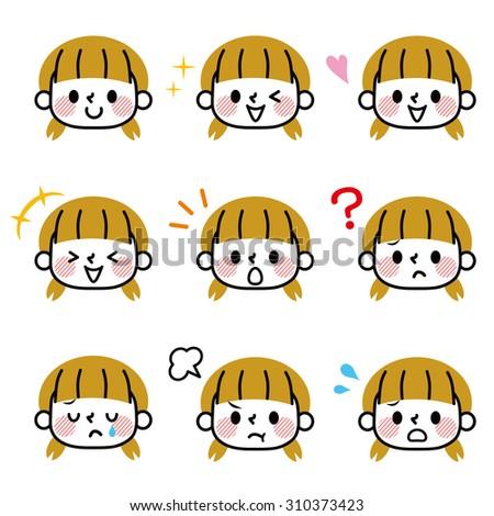 Girl face icon - stock vector