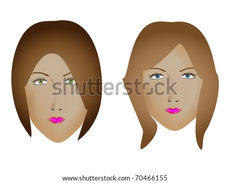 Girl faces - stock vector