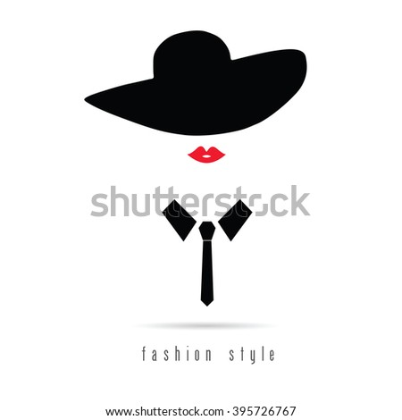 girl fashion icon with hat illustration in colorful - stock vector