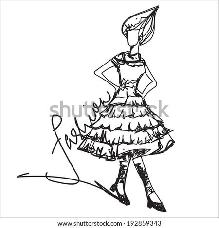 girl fashion show illustration vector file line art - stock vector