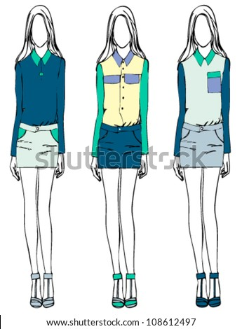 girl fashion sketch casual style - stock vector