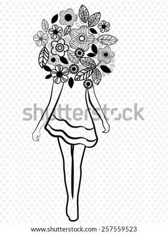 girl flowers fashion icon  - stock vector