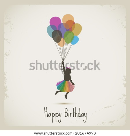 Girl flying with balloons, happy birthday, eps10 vector - stock vector