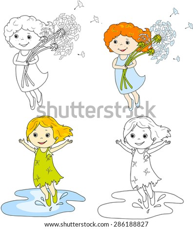 Girl flying with dandelions. Girl jumping in puddles. Coloring book, summer vector illustration - stock vector