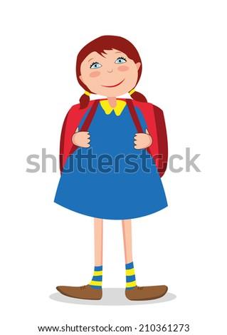 girl goes to school - stock vector