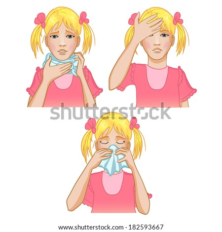 Girl got cold. Three vector image of a little girl complaining about headache, sore throat and cold. Each image shows possible symptoms of a cold. - stock vector