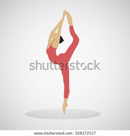 Girl gymnastic vector illustration, stretching exercise, fitness, Yoga and dance. - stock vector