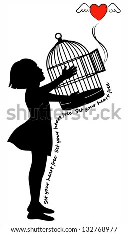 Girl holding a bird cage with a flying heart. EPS 10 - stock vector