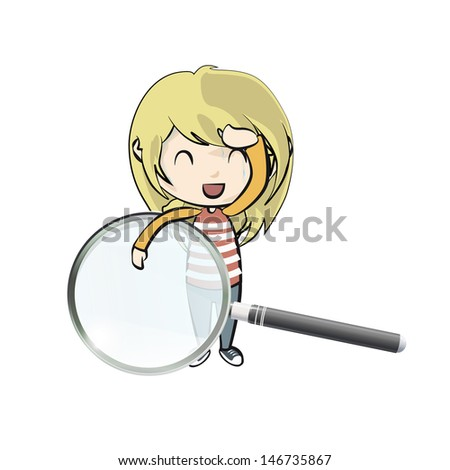 Girl holding a magnifying glass on white background. Vector design.  - stock vector