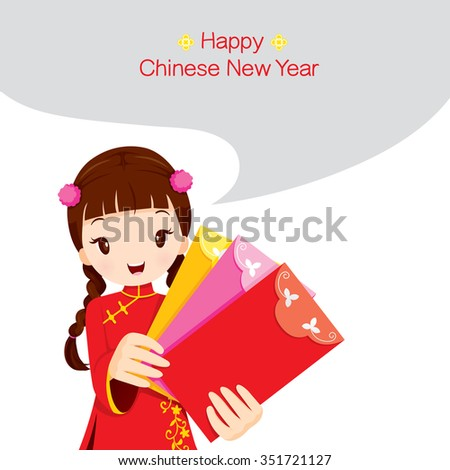 Girl Holding Envelopes, Traditional Celebration, China, Happy Chinese New Year - stock vector