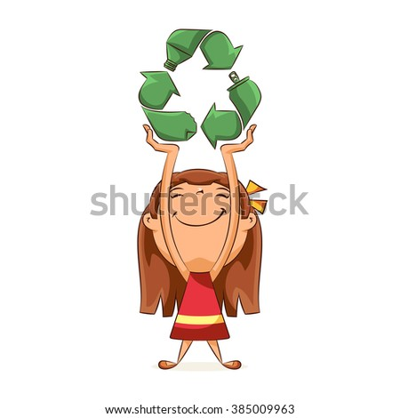 Girl holding recycling symbol concept, vector illustration - stock vector