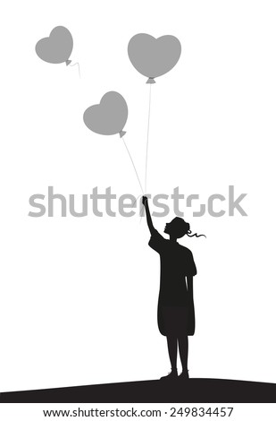 girl holding two of balloons and one flying out, silhouette, girl looking at the flying balloon - stock vector