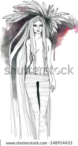 Girl illustration - stock vector