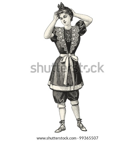 "Girl in a bathing suit - Vintage engraved illustration - ""La mode illustree"" by Firmin-Didot et Cie in 1897 France - stock vector"