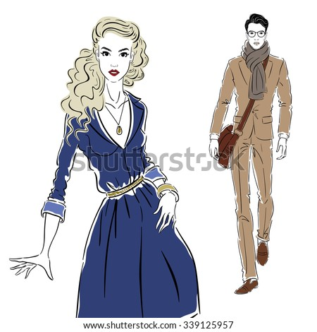 Girl in a blue dress meets Man in costume - stock vector