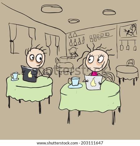 Girl in cafe flirting ogle. Vector cartoon illustration - stock vector