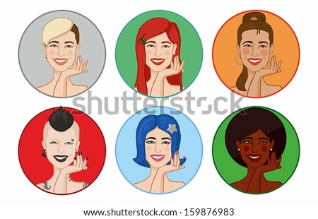 girl in different images - stock vector