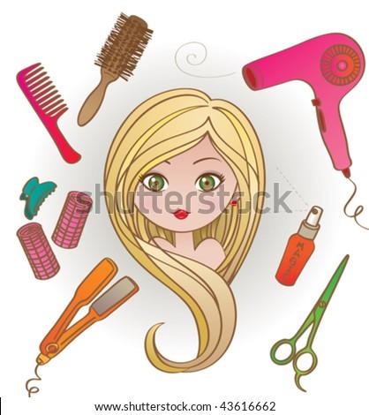 Girl in hairdresser salon. Vector illustration of a pretty girl in a hairdresser salon, having her long blond hair styled. - stock vector
