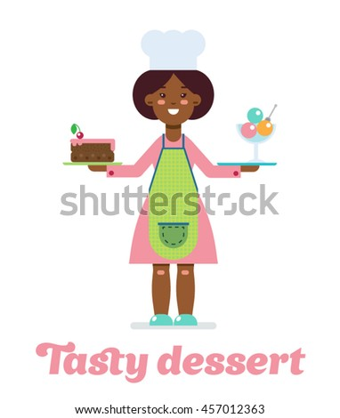 Girl in pink with tasty dessert - stock vector