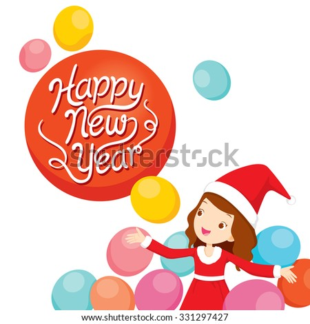 Girl In Santa Costume With Balloons, Happy New Year, Merry Christmas, Xmas, Objects, Festive, Celebrations - stock vector