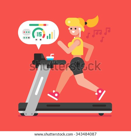 Girl listening to music while running on treadmill. Vector flat illustration. - stock vector