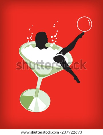 Girl martini glass - stock vector