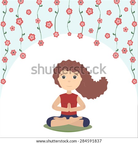 Girl meditates doing yoga. Sitting in the lotus, palms together, eyes opened, hair flying, flowers on the top, white background - stock vector