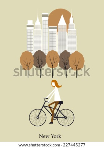Girl on a bicycle in New York. Vector - stock vector